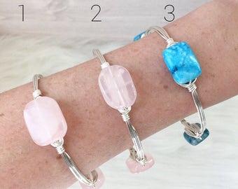 Wire Wrapped Bangles, Beaded Bangles, Gemstone Bangles, Bangle Bracelets