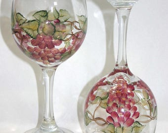Hand Painted Red Grapes Wine Glasses - set of 2