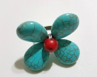 Turquoise and Red Flower Ring