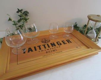 Wood Serving Tray, Rare Taittinger Champagne, Man Cave Tray, Man Cave Bar Tray, Game Room Decor, Bar Gift, Advertising Tray, Wood Wall Art