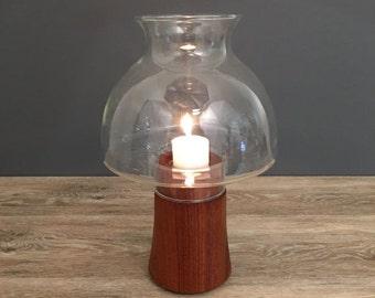 ON SALE Dansk Teak Hurricane Lamp, Mid Century Vintage Home Decor, Candle Holde, Dansk International