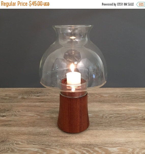 ON SALE Dansk Teak Hurricane Lamp, Mid Century Vintage Home Decor, Candle Holde, Dansk International
