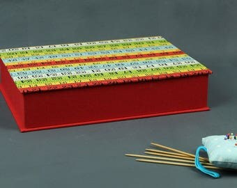 Sewing box, sewing box, box with fabric covered box for knitting needles, red colored patterned sewing box, handmade,