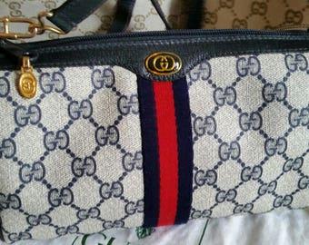 Vintage Navy Gucci Clutch Shoulder bag or Cross body - detachable strap