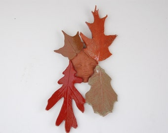Leaf Baby,clay, wall art, multi color, outdoor, sculpture,shower gift,