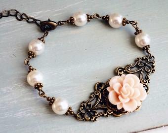 50% OFF Bracelet, pink resin rose and pearl vintage style bracelet 1