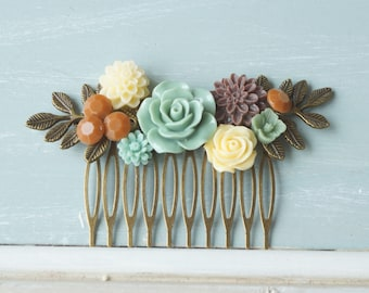 Hair Comb,  sage, ivory, brown, resin flower hair accessory, bridal hair comb