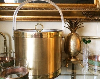 Gold and Lucite Georges Briard ice bucket