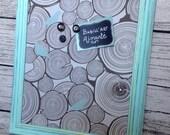Babillard aimanté recouvert de tissu rondins de bois et oiseaux mint chambre mémo photos décor mural tableau d'affichage à aimants chalet