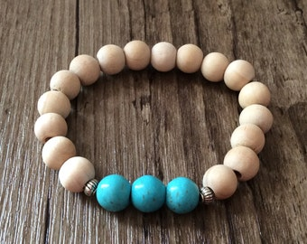 Chunky Howlite and Wood Stretch Bracelet