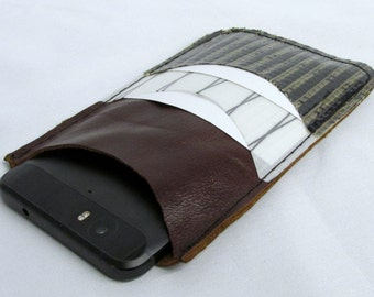 leather phone case, wallet, recycled sails, sailcloth