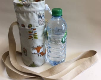 Insulated water bottle bag,festival bag,insulated bottle bag,woodland oilcloth
