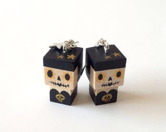 "Earrings Wooden Dolls ""Calaveras"" - Hand-made"