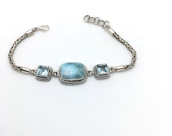 Larimar and Blue Topaz Bali Bracelet