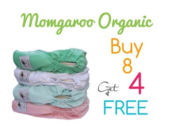 Momgaroo Organic 12 Pack One Size Cloth Pocket Diapers fits from newborn to 3 yrs old