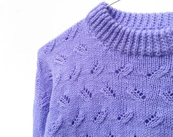 Vintage Violet Jumper - Hand Knitted - Small