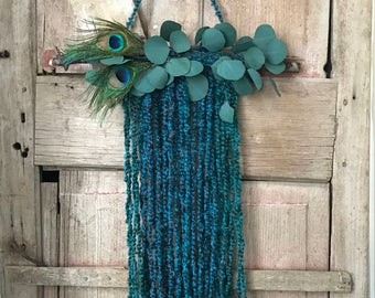 CLEARANCE- Peacock blue wall hanging, fiber art