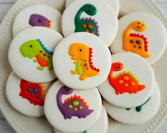One dozen (12) Dinosaur Decorated Sugar Cookies