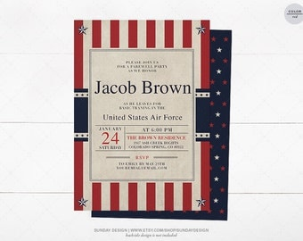 Military Going Away Party Invitation - DIY Printable - Military Retirement, Farewell Party, Deployment, Commissioning, Duty Calls, Patriotic