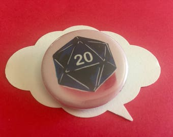 D20 dungeons and dragons button | critical role D&D pin