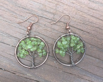 Peridot Tree if Life Earrings