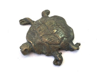 Unique Metal Turtle Sculpture Pendant, Tortoise Pendant, Metal Turtle Figure, Mixed Metal OOAK Tortoise Figurine, Carved Metal Collectible