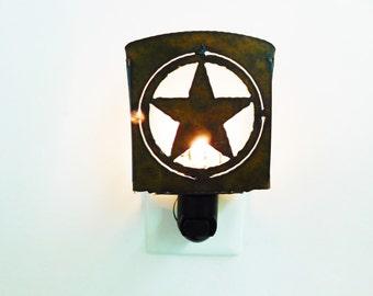 TEXAS STAR Circle Star nightlight night light made of Rustic Rusty Rusted Recycled Metal