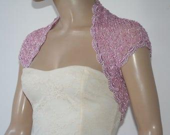 Pink Wedding Bridal Bolero Shrug Lace Crochet Knit  Shrug Boleros  Gold White Grey Blue Lilac Black