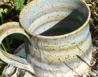 Speckled White and Heather Blue - Large Mug