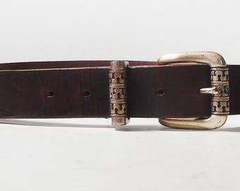 Mens Brown Genuine Leather Belt Vintage Thick Size 34 Worn Copper Finish Belt Buckle