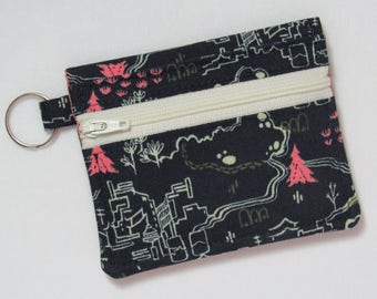 Bifold Keychain Wallet w/ Zipper Coin Pocket & Credit Card/Cash Pockets, Cotton + Steel Countryside / Tokyo Train Ride Fabric, One of a Kind