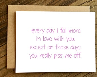 Love Card - Valentines Day Card - Funny Love Card - Card for Huband - Card for Wife - Funny Anniversary Card - Every Day I Fall.