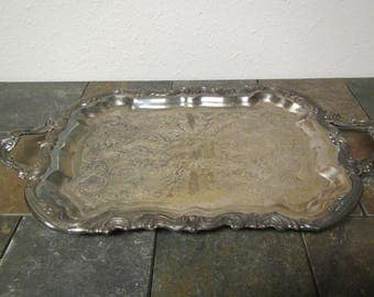 "vintage F. B. Rogers Silverplate footed Serving Tray with handles***  Butlers Tray,Tarnished Patina  14"" wide by 25"" long"