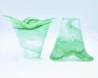 Vintage Slag Vase Pair - Petal Bud Vase - Glass Vase - Flower Vase - Milk Glass Vase - Decorative Vases - Pair of Vases - Vase Set