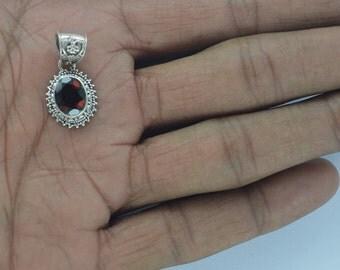 Garnet pendants,Natural Garnet Pendant,Red Garnet Silver Pendant,Silver Garnet,Solid Sterling Silver,Faceted Gemstone January birthstone Pen
