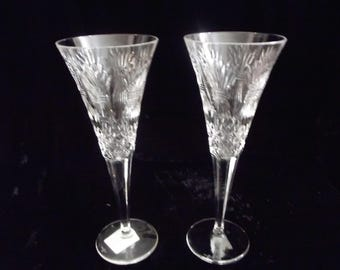 Set of 2 Waterford crystal champagne glasses, toasting flutes, item # 61