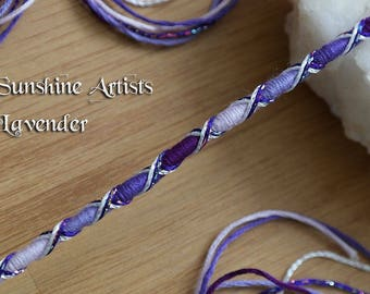 Lavender hair wrap, hair braid, clip in, plait in, purple hair jewelry, silver and purple, glittery threads, criss cross style, beads, boho