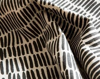 Sticks Fabric / Black -  Hand screen printed Flax Linen