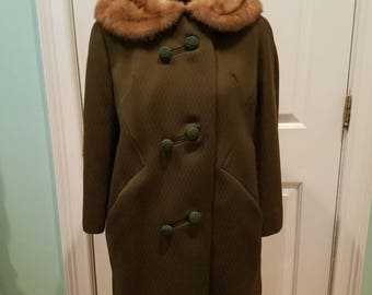 Vintage 60's Army Green Mink Collar Jacket and Skirt