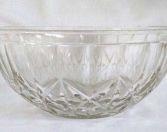 Vintage Glass Fruit Bowl. 1960 Fruit Bowl. Cut Glass Fruit Bowl. Retro Glass Fruit Bowl. Shabby Chic