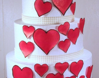Wedding Cake Toppers, Edible Heart Cake Decorations, Red Edible Hearts, Set of 24 DIY Cake Decor, Red Edible Cake Decorations, DIY Cake