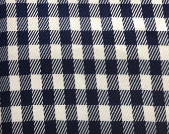 Navy and white plaid suiting fabric