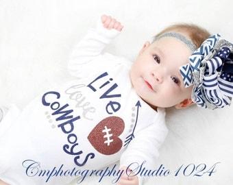 Live Love Cowboys~Bodysuit Baby Girl~Coming Home Outfit~Baby Girl Coming Home Outfit~Newborn Bodysuit Girl~Toddler Outfit~Toddler T-Shirt