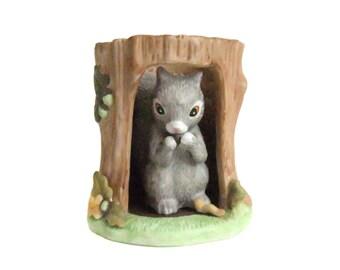 Woodland Surprises Vintage Squirrel Figurine, Hand Painted Franklin Fine Porcelain 1984 Jacqueline B Smith Woodland Animal Figure, Squirrel