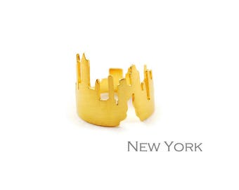 Manhattan Skyline Sterling Silver Statement Ring 22K Gold Plated Version Modern Wide Band Handcrafted Ring for New York Lovers Big Apple Fan
