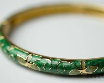 Enamel green/pink bracelet