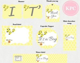 Bee baby shower. Bee baby shower decorations. Bee baby shower invitation. Bee baby shower games. Bee 1st birthday. Bee cupcake toppers