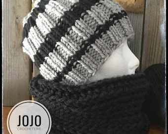 Tuque and collar for man.
