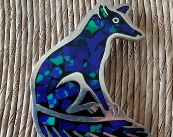 Vintage Taxco TV-114 Sterling Silver with Inlaid Lapis Stone Wolf Brooch