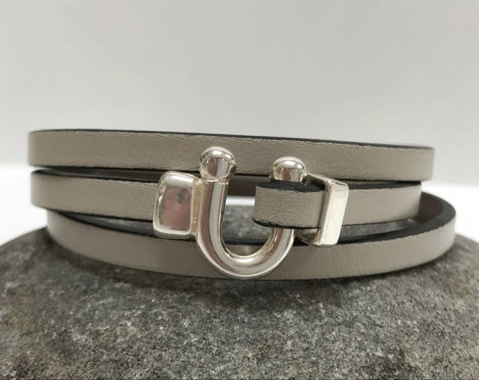 Featured listing image: Taupe Triple Wrap Leather Bracelet with Horse Shoe Clasp Leather Bangle, Unisex Leather Bracelet,Women's Leather Bracelet, Taupe and Silver